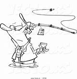 Fishing Coloring Cartoon Wine Outlined Fancy Vector Toonaday sketch template