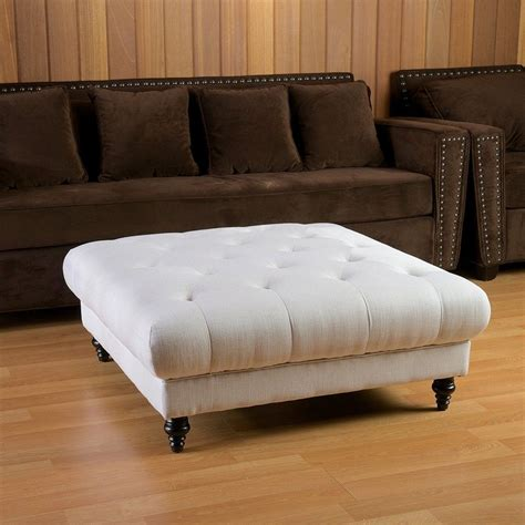 couch with large ottoman white square tufted leather ottoman coffee table with