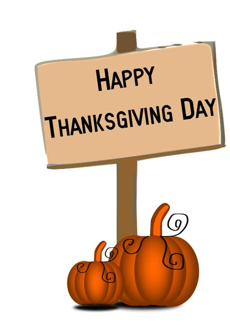 free pumpkin with happy thanksgiving sign clip