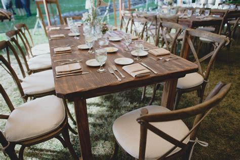 wedding farm tables and x back chairs rustic outdoor