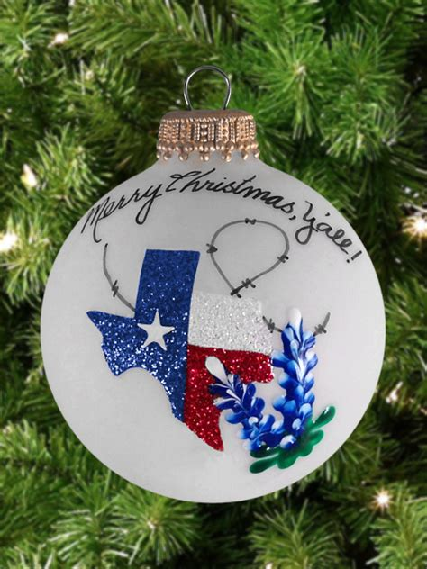 hand painted texas christmas ornament with bluebonnets