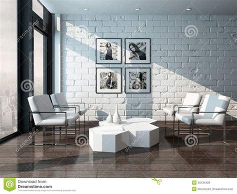 minimalist living room interior  brick wall stock