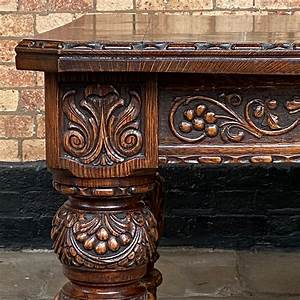 Victorian, Carved, Oak, Wind, Out, Table, -, Antique, Dining, Tables