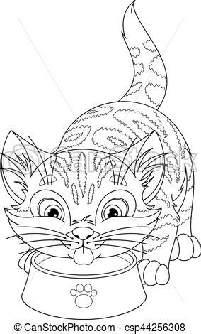 cat coloring page cute kitten drinking milk   bowl