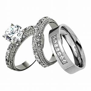 his hers 3 piece men women stainless steel wedding With 3 piece womens wedding rings