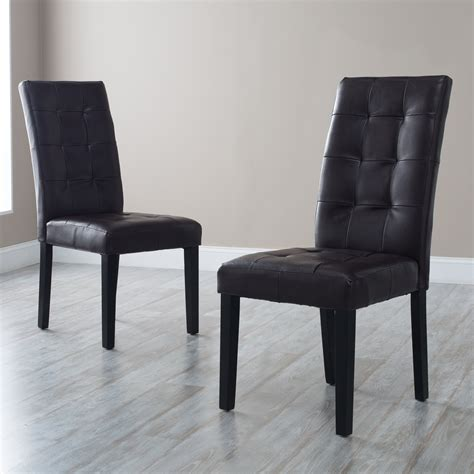 martha brown bonded leather parsons dining chair set of