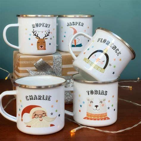 Christmas Enamel Mug With Winter Bear By Hendog Designs