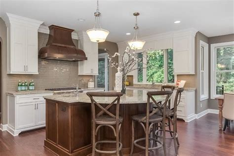 round kitchen islands Kitchen Transitional with arched