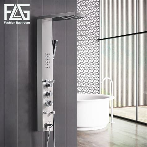 flg sus bathroom thermostatic rain shower panel brushed