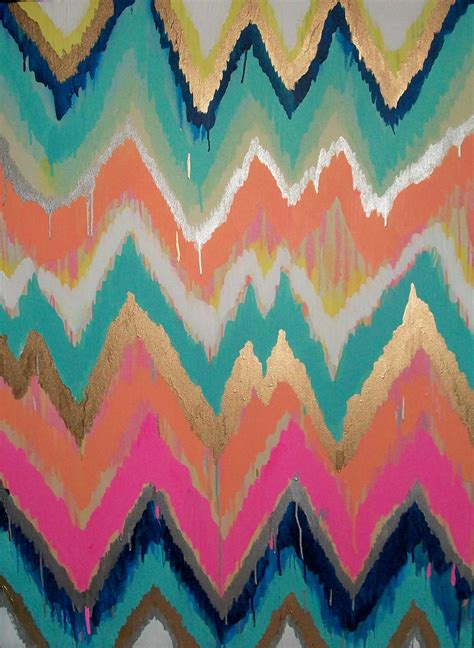 Chevron Template For Painting by Custom Ikat Chevron 36x48 Painting By Moreman