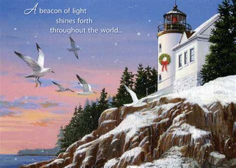 beacon  light nautical christmas card  red farm studios