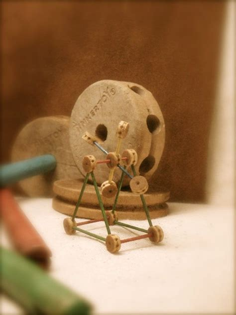 tiny  scale wooden vintage tinker toy miniature