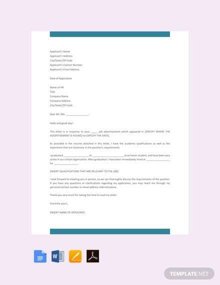 sample job application letter templates  ms word