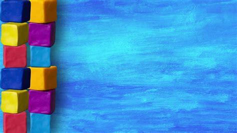 stock video  kids cubes  blue background loop