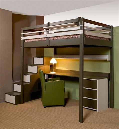 lit à étage avec bureau lits mezzanines urbaine
