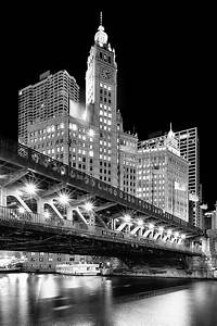 Wrigley Building At Night In Black And White Photograph by ...