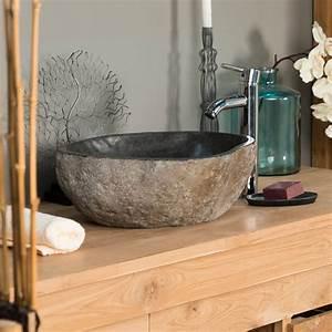 vasque a poser en pierre naturelle vasque naturelle With salle de bain design avec vasque à poser en pierre naturelle