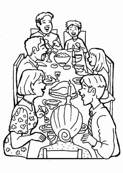 Coloring Dinner Together Thanksgiving Coloringsky Sky