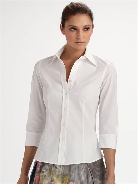 white blouse sleeve carolina herrera threequarter sleeve blouse in white lyst