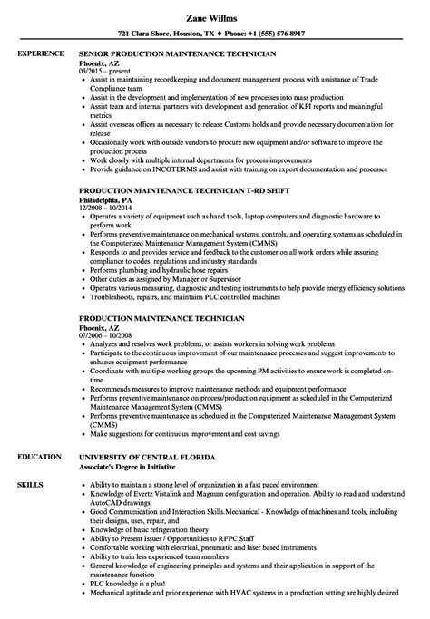 Maintenance Technician Resume by Production Maintenance Technician Resume Sles Velvet