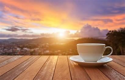 Sunrise Morning Coffee Cup Background Veranda Sunset