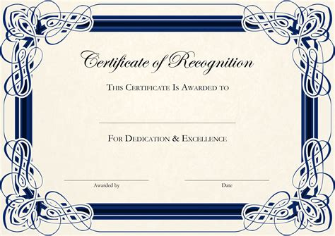 Certificate Template by Certificate Of Recognition Templates Genie