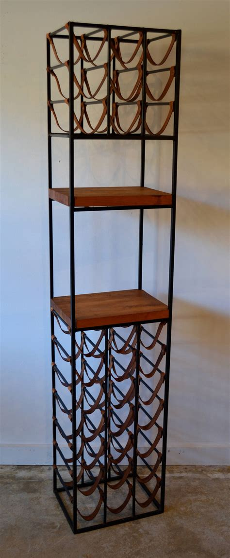 wrought iron wine racks pair of wrought iron and butcher block wine racks by