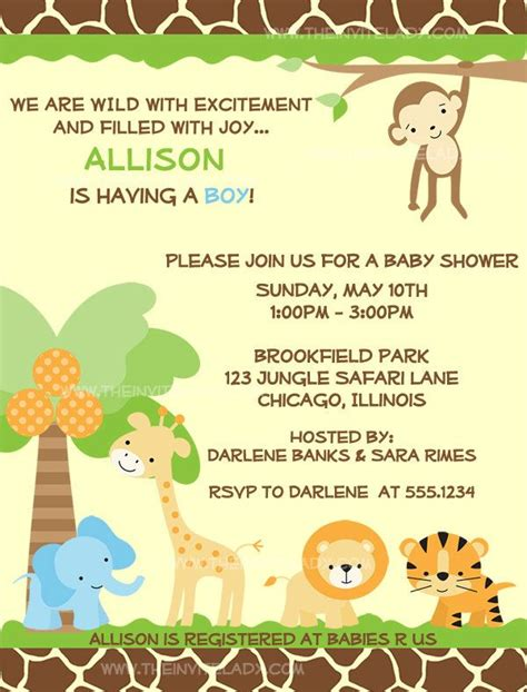 jungle baby shower invitations safari animals boys