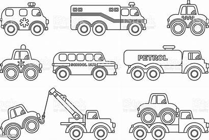 Coloring Transportation Pages Different Toys Children Silhouettes