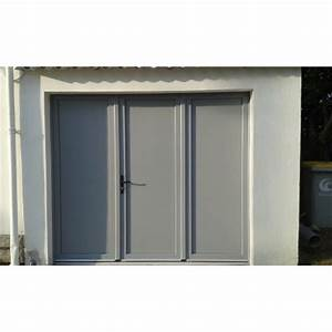 Porte de garage battante et portillon integre ouverture a for Porte de garage 3 vantaux pvc