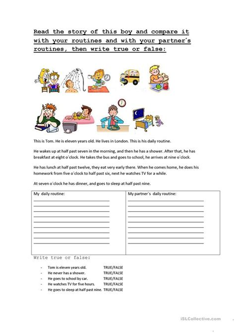 daily routines story  activities worksheet  esl