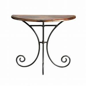 Table console demi lune en fer forge et bois de sheesham for Meuble d entree maison du monde 13 table console demi lune en fer forge et bois de sheesham