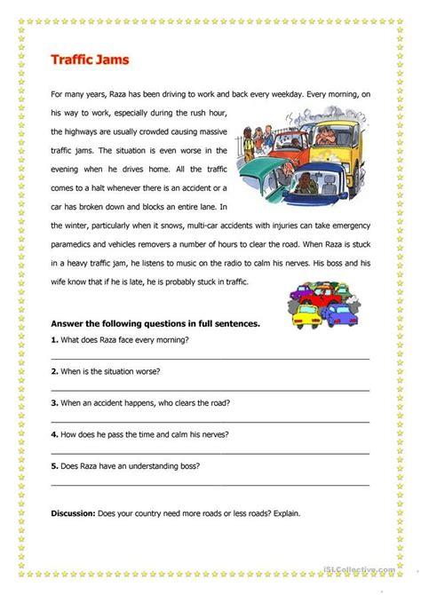 traffic jams worksheet  esl printable worksheets