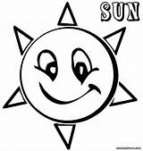 Sun Coloring Sunny Happy Colorings sketch template