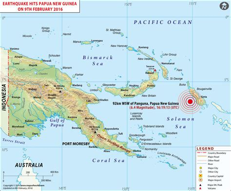 papua  guinea earthquake map area affected