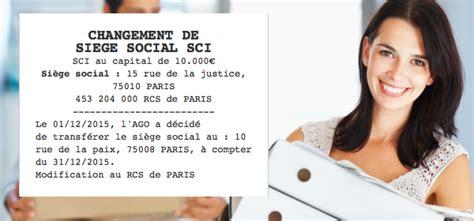 changement siege social sci annonce légale de changement de siège social sci le