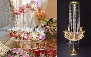 Chandelier De Table : 90cm h wedding crystal table centerpiece crystal chandelier flower stand banquet decoration in ~ Melissatoandfro.com Idées de Décoration