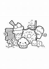 Dessert Coloring Kawaii Printable sketch template