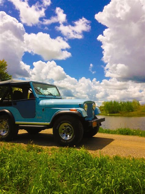 turquoise jeep cj 1976 cj5 jeep blue sky pond everything pinterest cj5