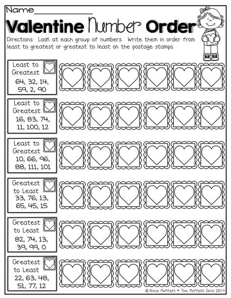 ordering numbers from least to greatest worksheets