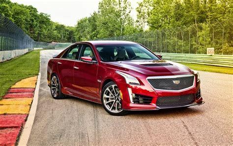 Download Wallpapers Cadillac Cts-v, Red Cadillac, Sedan