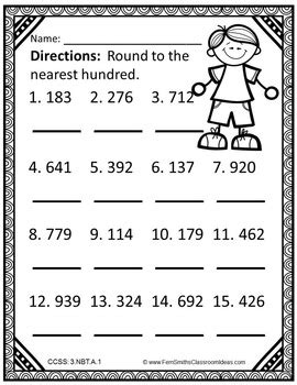 3rd Grade Go Math 12 Color By Numbers Round To The Nearest Ten Or Hundred