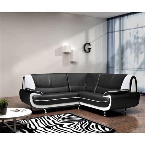 canaper noir et blanc spacio canapé d 39 angle fixe simili 4 places 143x143x43cm