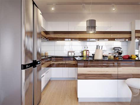 walnut cabinets white gloss kitchen interior design ideas