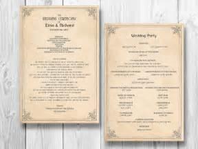 wedding reception order of service retro wedding program order of service ceremony reception vintage manifesto 20 00 via etsy