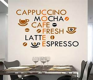 creative coffee wall stickers home decor living room With best brand of paint for kitchen cabinets with coffee wall art stickers