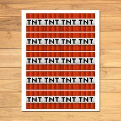 minecraft tnt birthday party labels    wide