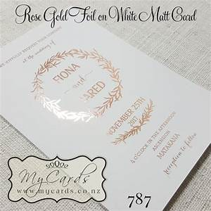 Rose gold foil wedding invitation design 787 mycards for Foil wedding invitations nz