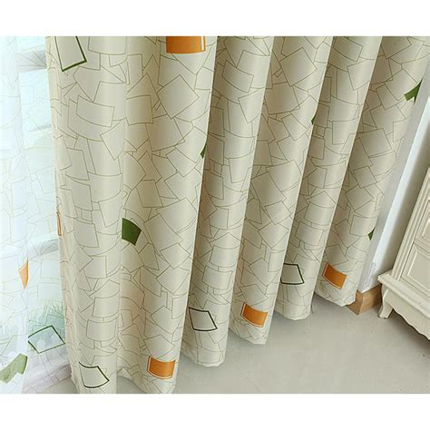 Note Bedroom Curtains by Beige And Green Gingham Print Polyester Contemporary