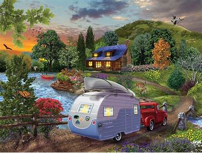Puzzle Campers Coming Sunsout Jigsaw Bigelow Illustrations